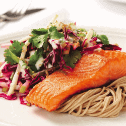 Grilled Salmon with Apple, Lime and Yogurt Slaw