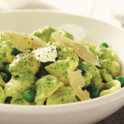 Orechiette with Creamy Basil and Broccoli Sauce