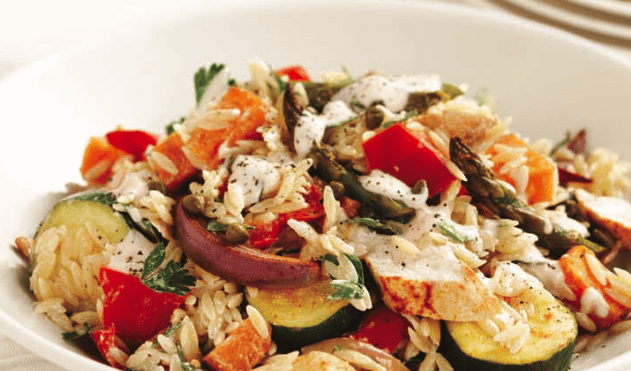 Roasted chicken, vegetables and Risoni salad