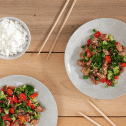 Sesame Chicken with Peppers and Snow Peas