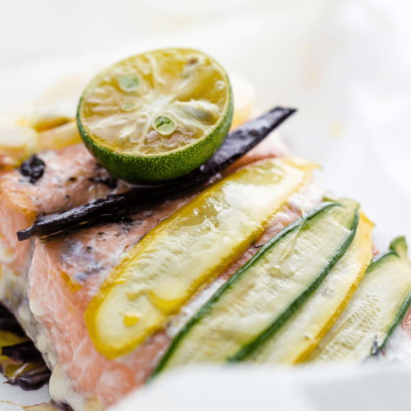 Salmon Courgette & asparagus papillote